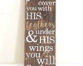 Psalm 91:4 He will cover you with his feathers Wood Sign - Bible Verse -  Wall Art - Home Decor - Nursery Sign - Rustic Sign