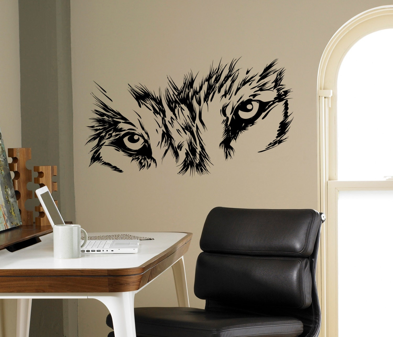 Wolf eyes wall decal beast wild animal vinyl sticker home zoom amipublicfo Gallery