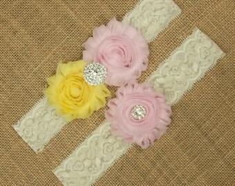 Pink and Yellow Bridal Garter Set, Wedding Garter Set, Pink Garter, Yellow Garter, Light Pink Wedding Garter Set, Bridal Garter Belt SCI2-28