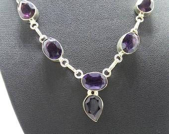 Amethyst Sterling Silver Bib Necklace.