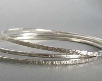 Sterling Silver Bangle. Stackable bangles set of 3. Textured.