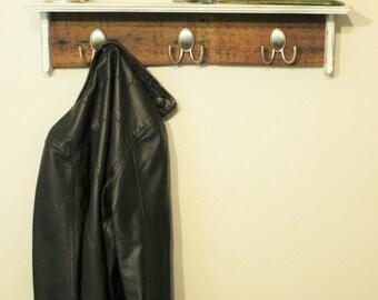 Rustic Distressed Shelf, Coat Rack, Coat Hooks