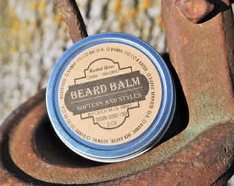 Beard Balm with Organic Ingredients, 2 oz Natural Beard Balm, Beard Balm Made with Organic Hempseed Oil, Mens Grooming, Mens Gift,