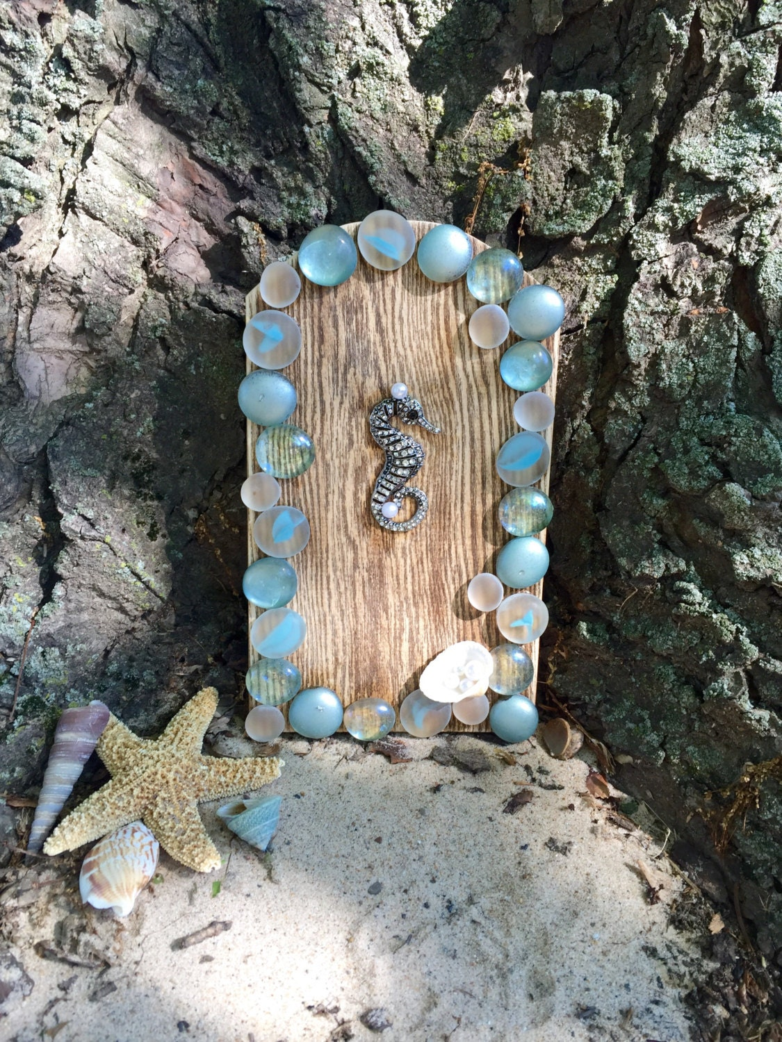 Fairy door beach fairy door fairy garden door wood fairy for Outdoor fairy door