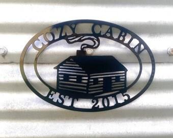Custom Metal Cabin Sign