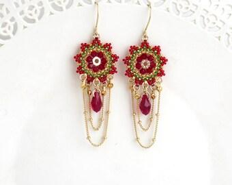 Gold chandelier earrings, Statement earring, Beaded chandelier earrings, Gold chain earrings, Long chain earrings, Crystal drop earrings