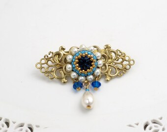 Mother gift, Floral brooch, Vintage style jewelry, Gift for wife, Blue brooch, Flower brooch, Pearl brooch, Crystal brooch, Blue broach