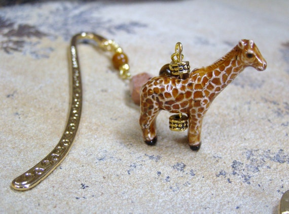 Giraffe Bookmark - Gold Metal Beaded Bookmark with African Map Jasper and Tiger's Eye Stone Beads with Glazed Ceramic Giraffe Charm
