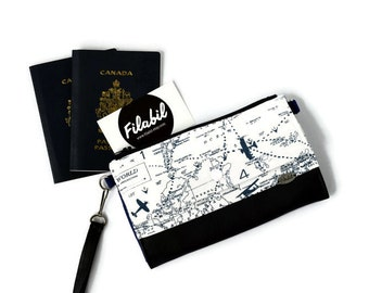 Travel Wallet with pocket for passport and cell | Anti-RFID protection | monney cards | world map