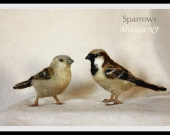 Needle felted birds, Two Sparros male and female set, felted animal sculptures