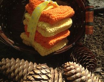 Set of Four Handmade Crochet Dish Cloths 100% Cotton