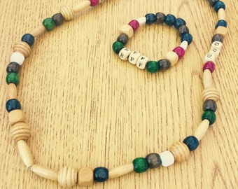 Wooden Beaded Necklace and Bracelet w/Lettered Phrases