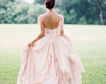 Silk light pink dress, chiffon wedding dress, chiffon blush wedding dress, pink wedding dress, open back gown, blush gown