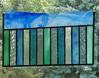 Ocean Wave stained glass panel
