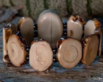 Sold!-Fossilized Alaskan Walrus Ivory Bracelet and Earring Set