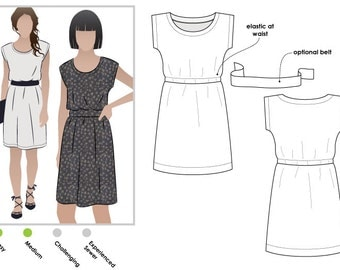 Olivia Dress - Sizes 4, 6, 8 - PDF dress sewing pattern for printing at home by Style Arc - Instant Download - Sewing Project