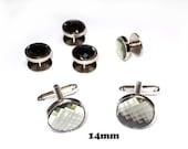 Swarovski Crystal tuxedo studs and cufflink set - Four Studs and cufflinks - Black diamond chessboard top Cuff links and shirt studs