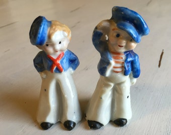 Vintage Sailor Boy and Girl Salt and Pepper Shakers