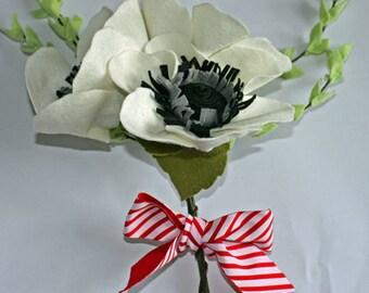 Felt flower, 3 Giant white anemones with foliage, READY TO SHIP, handmade felt flower bouquet, black, grey, and white, home decor, bridal
