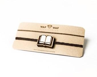 Wooden book bracelet. Book bangle, book charm. Wooden bracelet with small book. Book bracelet.