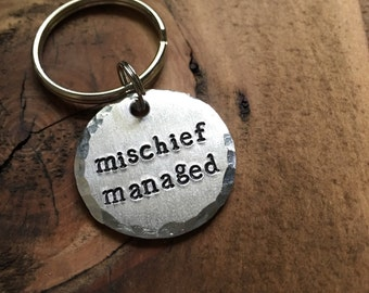 Mischief Managed Pet ID Tag, Dog Tag, Hand Stamped Pet Tag