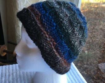 Hand-Knit Hat - Underwater Basketweaving in Multicolor Yarn