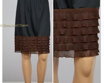 Brown Ruffle Slip extender, underskirt, skirt extender, Dress Extender, half slip,