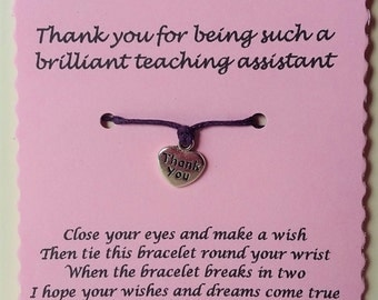 Teaching Assistant gift, Thank you Card, Teaching assistant card, Charm bracelet, Thank you gift, String Bracelet, Cord Bracelet, Keepsake