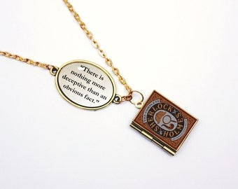 "Sherlock Holmes Necklace by Arthur Conan Doyle ""Deceptive fact"" Book Quote Locket Charm / Bracelet Jewelry / Jewellery Library Card"