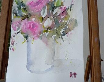 Original Watercolour: Pink Bouquet, Tulip
