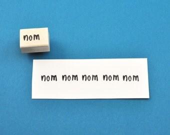 Nom Rubber Stamp (nom nom nom), Hand Carved Stamp