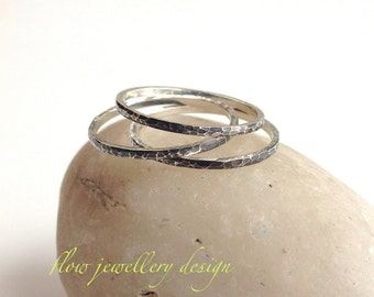 Hammered,  Silver Stacking Rings. Shiny silver or oxidized.
