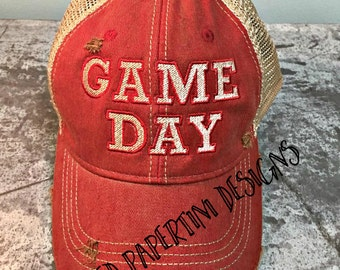 Red GAME DAY Ball Cap, Distressed Hat, Football Cap