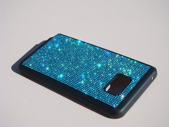 Samsung Galaxy Note 5 Aquamarine Blue Rhinestone Crystals on Black Rubber Case. Note 5 Aqua Aquamarine, Genuine RangseeCrystalCases