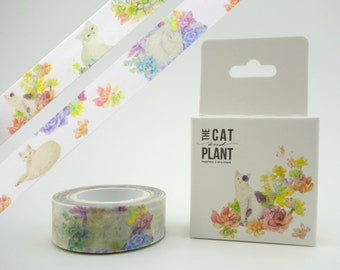 Beautiful cat & succulent plant Chinese 10m washi tape in box! Kitty cats in soft colors - garden nature paper masking tape - botanical