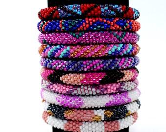 WHOLESALE LOT of 10 Roll-On Bracelets Beaded Bracelets Handmade Bracelets Nepali Bracelets Anthropologie Style Bracelet Colorful Bracelets