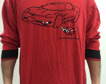 """SALE Vintage Legends Red """"Corvette"""" Drawing and Logo Made in USA Sweatshirt L"""