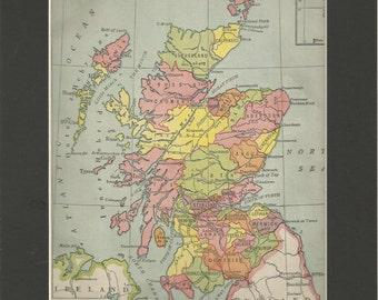 vintage colour 1940 map political scotland