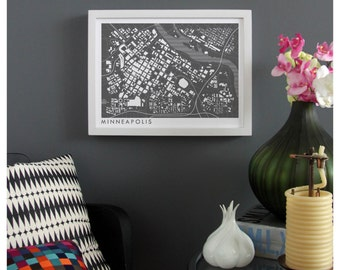 MINNEAPOLIS MINNESOTA Map Print - graphic drawing art poster