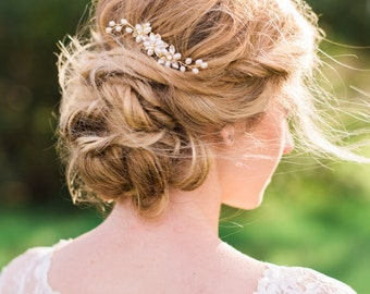 Pearl Gold Hair Comb Pink Pearl Hair Comb Freshwater Pearl Beaded Crystal Hair Comb Bridal Headpiece Bridal Hair Comb #143