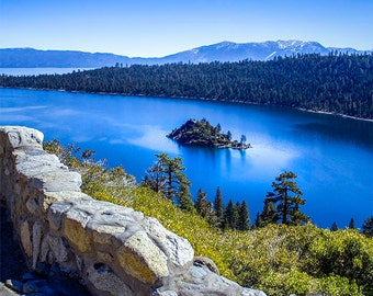 Emerald Bay Lake Tahoe, Nevada Mountain photography, Lake and mountain art, The natural world, blue and green wall art, square art print