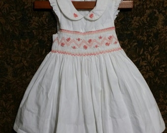 Most adorable baby girl white vintage smock top dress of qualiry.