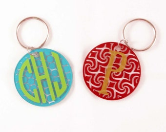 Custom Monogram Circle Acrylic Keychain/Key Fob/Acrylic Key Chain/2 inch Circle