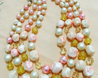 Vintage 1960s 4-Strand Beaded Necklace