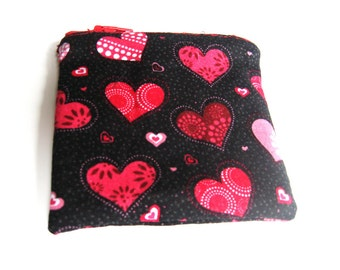 Valentine's Day Red and Pink Heart Coin Purse, Small Change Purse, Zipper Coin Pouch, Valentine's Day Gift, Gift for Her, Purse Accessory