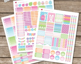 50% Off Easter Printable Planner Stickers, Full Weekly Kit, Kawaii Easter Kit, Perfect for Erin Condren Planner and other planners