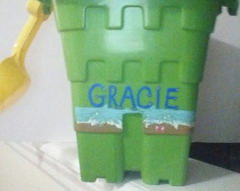 Child's personalized beach pail hand painted