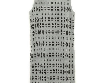 printed grey dress / sleeveless dress / printed dress / cotton jersey dress / mid length grey dress