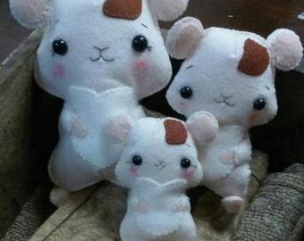 Hand Sewn Felt Plush Hamster Family