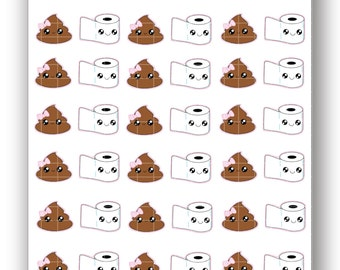 Toilet Paper and Poo Stickers